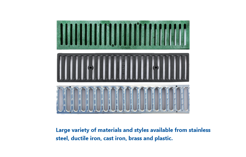 Stainless Steel, Iron, Brass and Plastic Channel Drain Grates
